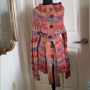 Free People Fab Multi Color Sweater Jacket Sml